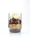 Knoflook, steranijsplant, korianderzaad en koffiebonenopstelling in gl Royalty-vrije Stock Afbeeldingen