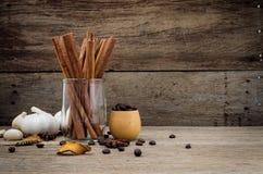 Knoflook, steranijsplant, korianderzaad en koffiebonenopstelling in gl Royalty-vrije Stock Foto's