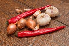 Knoflook, ui en Spaanse peper Stock Foto