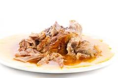 Knoge av griskött som isoleras på vit mat Fotografering för Bildbyråer