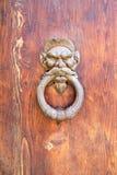 Knoker antico della porta con il leone Fotografia Stock Libera da Diritti