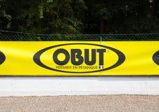 Knokke/比利时- 04 08 18 :Obut第一场品牌petanque比赛最佳的法国 图库摄影