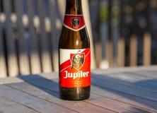 Knokke/Belgien -28 im Juli 2018: Flasche von Jupiler-Bier-Belgien-Belgier lizenzfreies stockbild