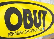 Knokke Belgio - 04 08 18: Primo gioco Francia del petanque di marca di Obut la cosa migliore immagini stock libere da diritti