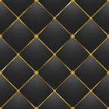 Knoop-Button-tufted zwarte leertextuur Royalty-vrije Stock Afbeelding