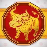 Knoop met een Gouden Os voor Chinese Dierenriem, Vectorillustratie Stock Foto