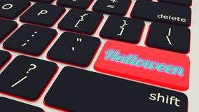 Knoop met laptop van teksthalloween Toetsenbord het 3d teruggeven royalty-vrije illustratie