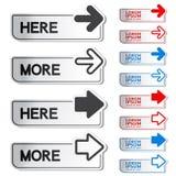 Knoop met pijl - hier, meer stickers Stock Afbeeldingen
