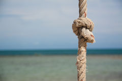 Knoop op de kabel en het overzees Stock Foto