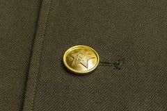 Knoop op het uniform van een militair van het Sovjetleger Stock Fotografie