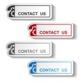 Knoop van contact ons - rechthoekontwerp met oude telefoon stock illustratie