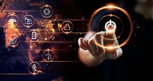 Knoop van de vinger de dringende macht met het pictogram van energiemiddelen ter wereld royalty-vrije stock afbeeldingen