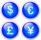 Knoop van het Pictogram van de Yen van het Pond van de dollar de Euro Stock Fotografie