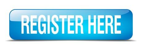 knoop van het register de hier blauwe vierkant geïsoleerde Web Royalty-vrije Stock Foto