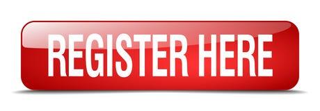Knoop van het register de hier rode vierkant geïsoleerde Web Royalty-vrije Stock Fotografie