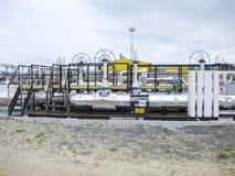 Knoop van het rekenschap geven van commerciële olie Instrumenten voor het controleren van de hoeveelheid die olie overgaan door Stock Foto