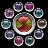 Knopen met kleuren decoratief patroon. stock illustratie