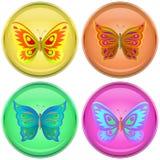 Knopen met vlinders Royalty-vrije Stock Fotografie