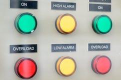 Knopen op de raad van het stroomcontrolemechanisme Royalty-vrije Stock Fotografie