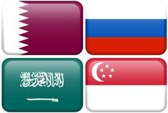 Knopen: Qatar, Rusland, Saudi-Arabië, Singapore Stock Foto