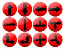 Knopen van de Pijl van Shinny de Rode Royalty-vrije Stock Afbeeldingen