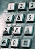 Knopen van een ouderwetse openbare telefoon. Royalty-vrije Stock Foto's