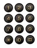 Knopen van het close-up van het telefoontoetsenbord, op wit, met clippi worden geïsoleerd die Stock Afbeelding