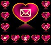 Knopen in vorm van hart stock illustratie