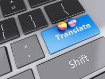 Knopf der Übersetzung 3d auf Computer-Tastatur Übersetzen des Konzeptes Stockfotos