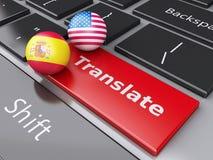 Knopf der Übersetzung 3d auf Computer-Tastatur Übersetzen des Konzeptes Lizenzfreie Stockfotos