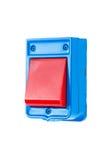 Knopf der elektrischen Klingel auf Weiß Stockbild
