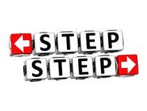Knopf des Schritt-3D klicken hier Block-Text Lizenzfreies Stockfoto