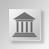 Knopf-Ikonen-Konzept der Institutions-3D Lizenzfreie Stockfotos