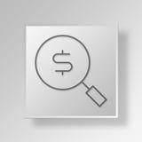 Knopf-Ikonen-Konzept Suche des Geldes 3D Stockfotografie