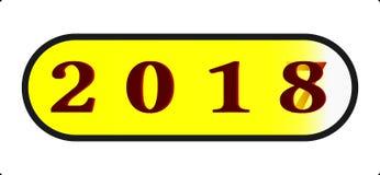 Knopf-Ikonenart Illustration des guten Rutsch ins Neue Jahr 2018 abstrakte mit 2018 Abschlussinstallation über 2017 transparenten Lizenzfreie Stockbilder