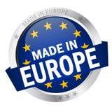 Knopf mit der Fahne GEMACHT IN EUROPA Stockbild