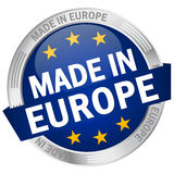 Knopf mit der Fahne GEMACHT IN EUROPA Stockbilder