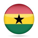 Knopf mit Flagge von Ghana Stockfotos