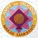 Knopf mit Laddu, Lotus Flower und Drachen für Makar Sankranti, Vektor-Illustration lizenzfreie abbildung