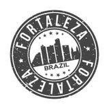 Knopf-Stadt-Skyline-Entwurfs-Stempel-Vektor-Reise-Tourismus Fortalezas Brasilien Amerika um stockfoto