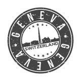 Knopf-Stadt-Skyline-Entwurfs-Stempel-Vektor-Reise-Tourismus Genfs die Schweiz Europa um lizenzfreie stockfotos