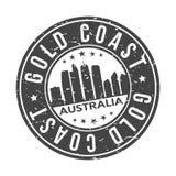 Knopf-Stadt-Skyline-Entwurfs-Stempel-Vektor-Reise-Tourismus Gold Coasts Australien Ozeanien um lizenzfreie stockfotos