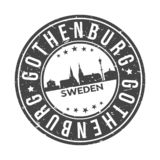 Knopf-Stadt-Skyline-Entwurfs-Stempel-Vektor-Reise-Tourismus Gothenburgs Schweden Europa um stockbild
