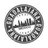 Knopf-Stadt-Skyline-Entwurfs-Stempel-Vektor-Reise-Tourismus Guadalajaras Mexiko Amerika um lizenzfreie stockbilder