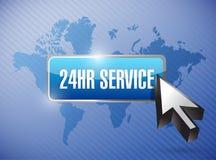 Knopfillustrationsdesign des Services 24hr lizenzfreie abbildung