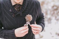 Knopfloch auf Bräutigamhochzeitsanzug Lizenzfreie Stockfotos