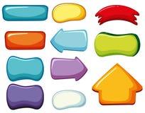 Knopfschablonen in den verschiedenen Farben Lizenzfreie Stockfotos