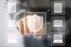 Knopfschildnetzsicherheitsvirus-Bürocomputermedien Lizenzfreies Stockfoto