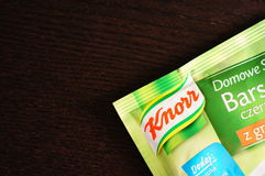 Knorr Fix. Close-up of a Knorr Fix pack Stock Image