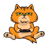 Knorrige Cat Playing Game Console stock illustratie